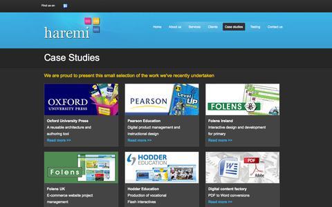 Screenshot of Case Studies Page haremi.co.uk - Haremi Ltd - Case Studies - captured Sept. 30, 2014