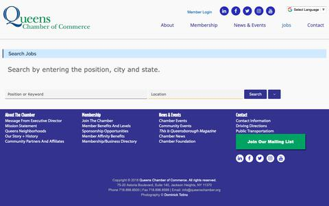Screenshot of Jobs Page queenschamber.org - Search Jobs – Queens Chamber of Commerce - captured Sept. 30, 2018