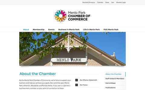 Screenshot of About Page menloparkchamber.com - About the Chamber of Commerce • Menlo Park Chamber - captured Feb. 12, 2016