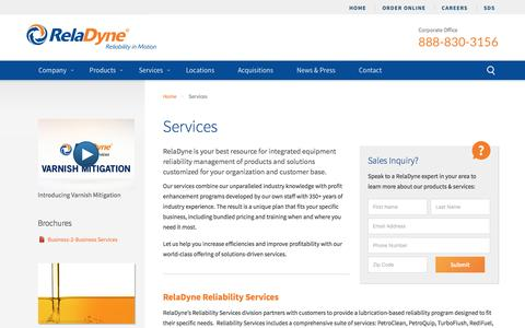 Screenshot of Services Page reladyne.com - Reliability Services & Custom Blending | Tank Monitoring | RelaDyne LLC - captured Nov. 12, 2016