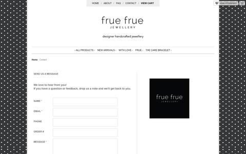 Screenshot of Contact Page storenvy.com - Contact · Frue Frue Jewellery · Online Store Powered by Storenvy - captured Oct. 27, 2014