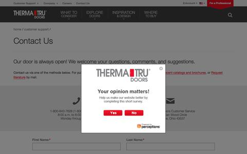 Screenshot of Contact Page Trial Page thermatru.com - Contact Us | Therma-Tru Doors - captured Aug. 11, 2017