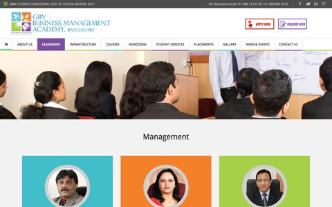 Screenshot of Team Page grvacademy.com - Management - GRV Business Management Academy, Bangalore - captured July 12, 2017