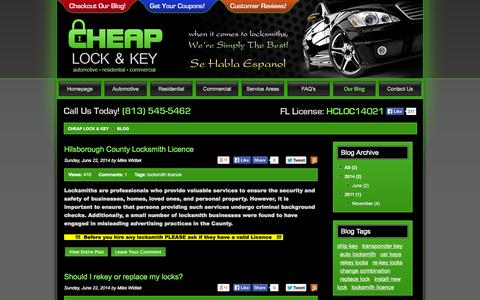 Screenshot of Blog cheaplockandkey.com - Locksmith Blog, Locksmith News - Cheap Lock & Key - captured Oct. 26, 2014