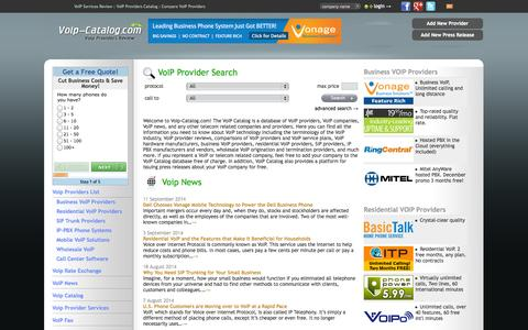 Screenshot of Home Page voip-catalog.com - VoIP Services Review : VoIP Providers Catalog : Compare VoIP Providers Reviews, voip companies - captured Sept. 19, 2014