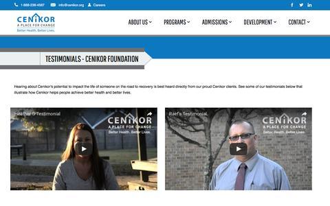 Screenshot of Testimonials Page cenikor.org - Testimonials - Cenikor FoundationCenikor Foundation - captured Oct. 28, 2016
