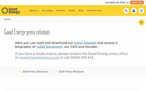 Screenshot of Press Page goodenergy.co.uk - Media centre | Good Energy - captured Nov. 1, 2016