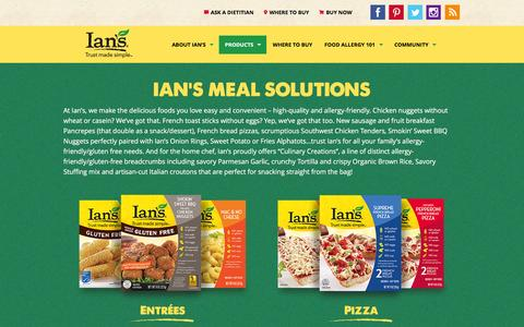 Screenshot of Products Page iansnaturalfoods.com - Products | Ian's Natural Foods | Allergy Friendly Foods - captured Jan. 8, 2016