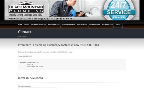 Screenshot of Contact Page blackmountainplumbing.com - Contact - Black Mountain Plumbing Inc - captured Nov. 22, 2016
