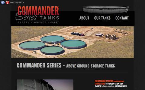 Screenshot of Home Page commandertanks.com - Above Ground Water Storage Tanks - Commander Series - captured Sept. 4, 2015