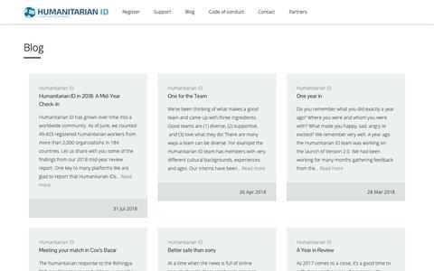 Screenshot of Blog humanitarian.id - Blog – Humanitarian ID - captured Nov. 3, 2018