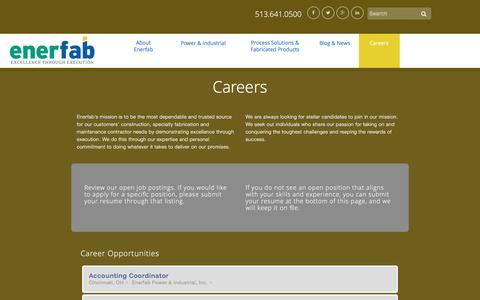 Screenshot of Jobs Page enerfab.com - Careers | Enerfab Inc - captured Jan. 29, 2016