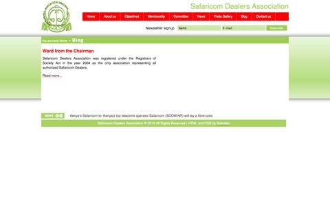 Screenshot of Blog safaricomdealers.com - Safaricom Dealers Association - Blog - captured Oct. 3, 2014