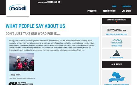 Screenshot of Testimonials Page mobell.co.uk - Testimonials - captured Oct. 26, 2014