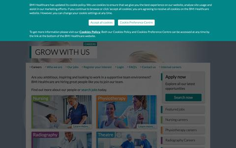 Screenshot of Jobs Page bmihealthcare.co.uk - Grow with us | Careers |  BMI Healthcare UK - captured May 9, 2019
