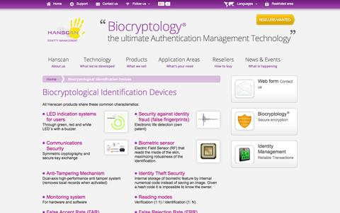 Screenshot of Products Page hanscan.com - Biocryptology Identification Devices, Hanscan Identity Management - captured Oct. 8, 2014