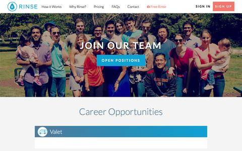 Screenshot of Jobs Page rinse.com - Rinse Careers - captured April 6, 2017