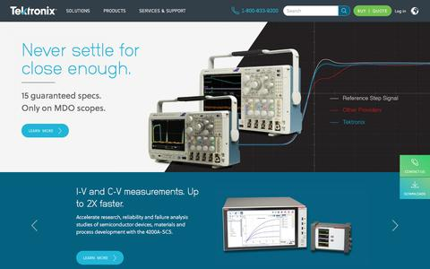 Screenshot of Home Page tek.com - Test and Measurement Equipment | Tektronix - captured Sept. 2, 2017