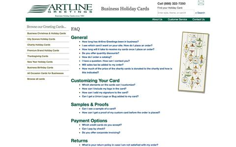 Screenshot of FAQ Page artlinegreetings.com - Corporate Holiday Cards & Greeting Cards - Artline Greetings - captured July 30, 2018
