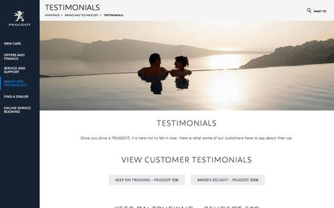 Screenshot of Testimonials Page peugeot.com.au - PEUGEOT testimonials | Hear what our customers have to say - captured July 29, 2017