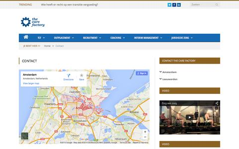 Screenshot of Contact Page thecarefactory.nl - Contact - The Care Factory - captured Jan. 11, 2016