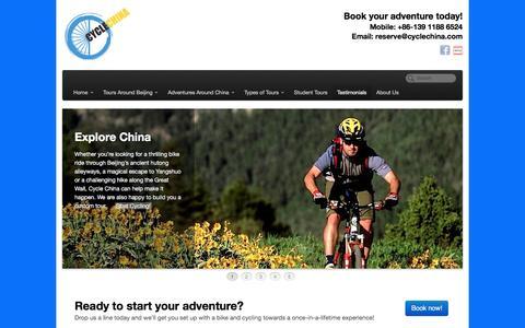 Screenshot of Testimonials Page cyclechina.com - Cycle China - Bike Tours, Great Wall Hiking, and Adventures around China | Testimonials - captured Dec. 14, 2015