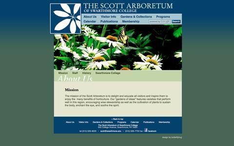 Screenshot of About Page scottarboretum.org - Mission - About Us - Scott Arboretum - captured March 12, 2016