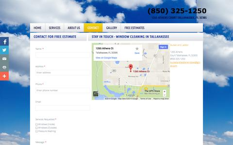 Screenshot of Privacy Page Contact Page bucketandladderwindows.com - Bucket & Ladder Window Cleaning, Tallahassee, FL - Contact - captured Oct. 23, 2014