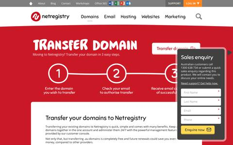 Screenshot of Pricing Page netregistry.com.au - Domain Name Transfer   Move Your Domain to Netregistry - captured July 27, 2017