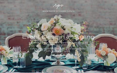 Screenshot of Home Page rpscissors.com - Rock Paper Scissors Events | Event Design & Styling NYC and San Diego - captured Sept. 3, 2015
