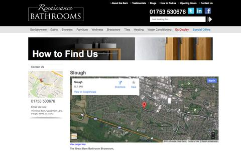 Screenshot of Maps & Directions Page renaissancebathroomshowrooms.co.uk - How to Find Us - Renaissance Bathrooms - captured Oct. 7, 2014