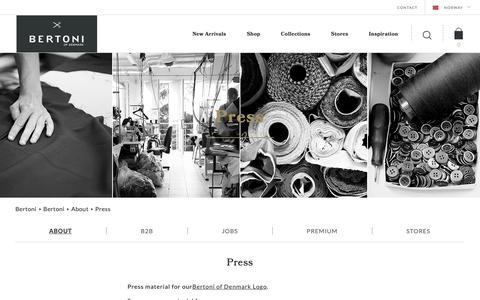 Screenshot of Press Page bertoni.com - Press material | Bertoni - captured Nov. 13, 2018