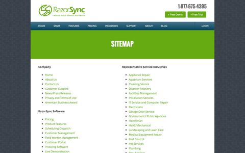 RazorSync.com Sitemap | Mobile Software for Service Businesses