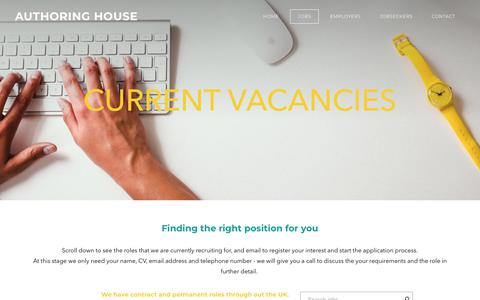 Screenshot of Jobs Page authoringhouse.co.uk - Job vacancies - AUTHORING HOUSE - captured Oct. 4, 2018