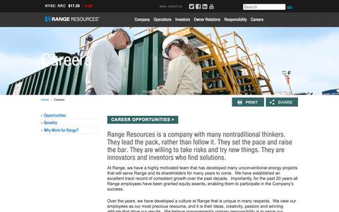 Screenshot of Jobs Page rangeresources.com - Range Resources - Careers - captured Oct. 17, 2018