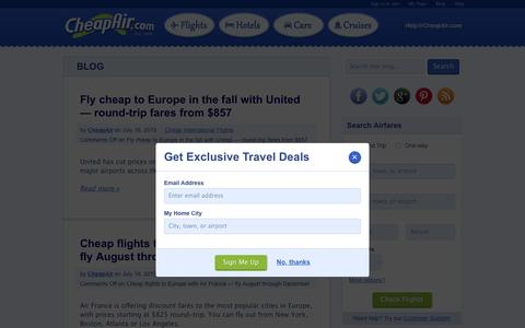 Screenshot of Blog cheapair.com - Travel Blog, Flights & Travel Tips and Articles on Airfares | CheapAir - captured July 20, 2015