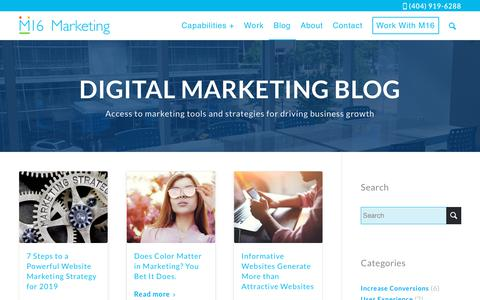 Screenshot of Blog m16marketing.com - Digital Marketing Blog - Plan, Implement and Execute - captured Oct. 26, 2018