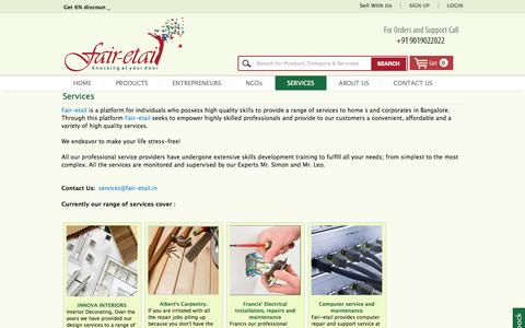 Screenshot of Services Page fair-etail.in - Professional Carpentry | Electrical, Gardening services in Bangalore - Fair-etail - captured Sept. 23, 2014