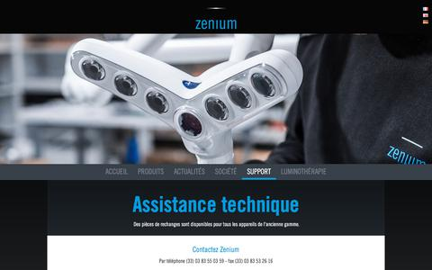 Screenshot of Support Page zenium.fr - Assistance technique - Support - ZENIUM - captured Oct. 19, 2017