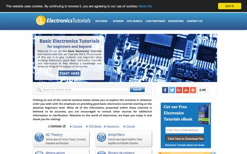 Screenshot of Home Page electronics-tutorials.ws - Basic Electronics Tutorials and Revision - captured Feb. 18, 2016