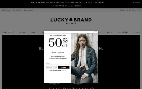 Screenshot of Home Page luckybrand.com - Luckybrand.com - 50% Off Sitewide - captured Nov. 27, 2015