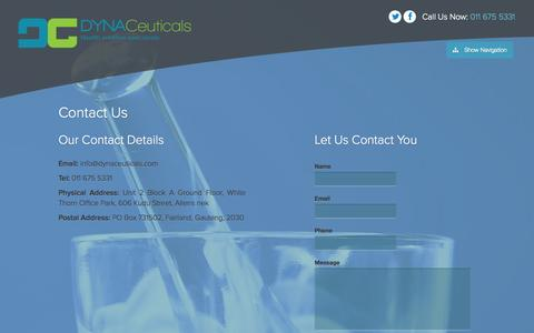 Screenshot of Contact Page dynaceuticals.com - Contact Us - DynaCeuticals - captured Sept. 30, 2014