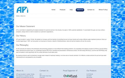Screenshot of apiwater.com - About APi | APi - Pool and Spa Water Care Chemicals Products - captured Oct. 6, 2015