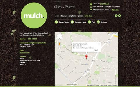 Screenshot of Contact Page mulch.ie - contact us . Mulch garden waste recycling centre, Dublin - captured Sept. 30, 2014