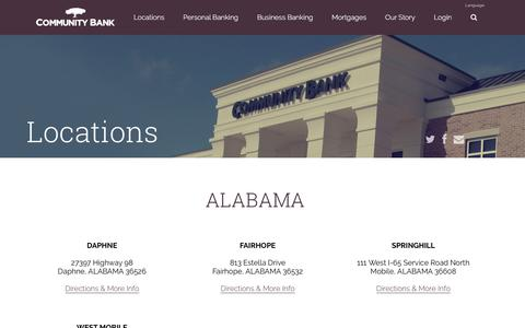 Screenshot of Locations Page communitybank.net - Community Bank | Community Bank Locations - captured Nov. 9, 2016