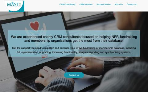 Screenshot of Home Page mast-ict.com - Expert CRM Consultants for Charity & Non Profit Sectors             MAST ICT - captured July 25, 2018