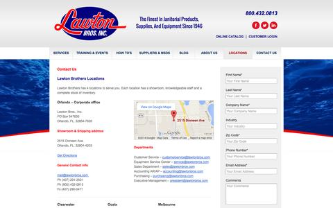 Screenshot of Contact Page Locations Page lawtonbros.com - Locations   Contact Us   Lawton Brothers - captured Oct. 22, 2014