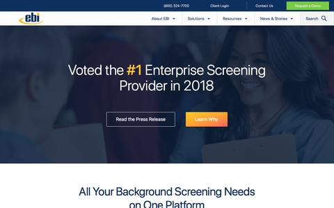 Screenshot of Home Page ebiinc.com - EBI Inc. | Employment Background Investigations - captured July 8, 2019