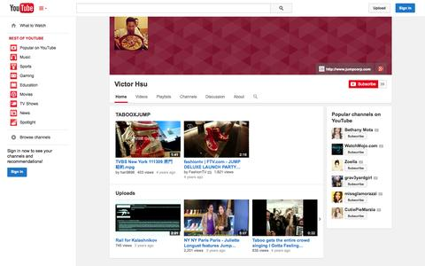 Screenshot of YouTube Page youtube.com - Victor Hsu  - YouTube - captured Oct. 25, 2014