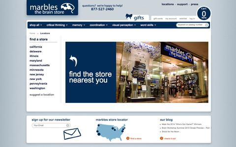 Screenshot of Locations Page marblesthebrainstore.com - Locations - Marbles: The Brain Store - captured Sept. 12, 2014